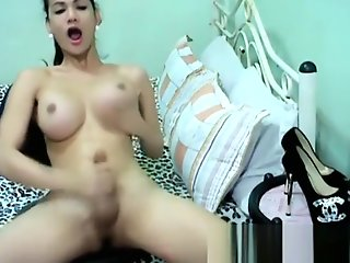 breasty oriental shemale cums slutty masturbation