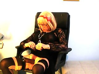 blonde crossdresser plays cock