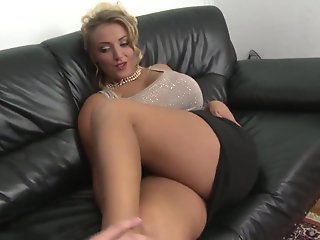 blonde milf natural tits shaved pussy