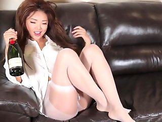 asian wet champagne pantyhose play