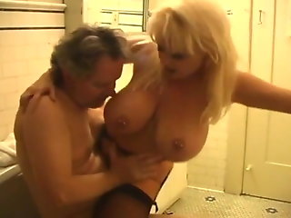 mature couple cleans cum mouth tits
