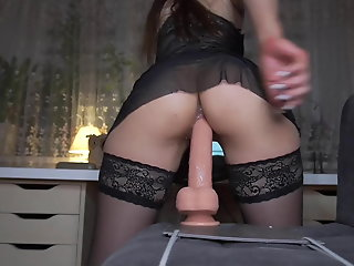 creamy ride huge dildo