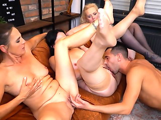 three mature sluts suck cock
