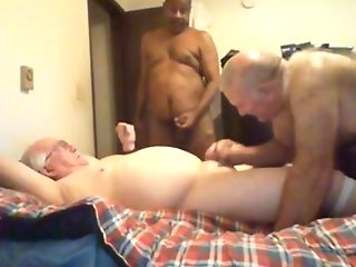 threesome grandpa bed