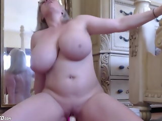 huge boobs slut wife riding dildo