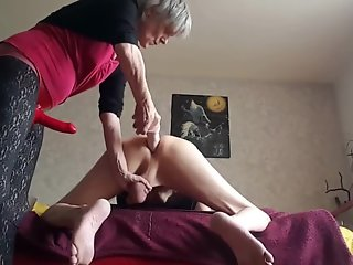 dominant granny strapon pegging submissive hubby