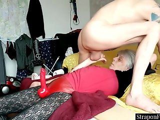 dominant gilf strapon pegging submissive hubby