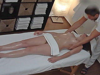 brunette glasses seducted massage table