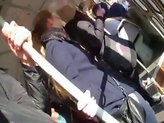innocent girl touches dick train