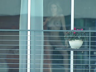 sexy blonde neighbor window voyeur 10