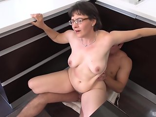 granny edith pumps hairy pussy meat